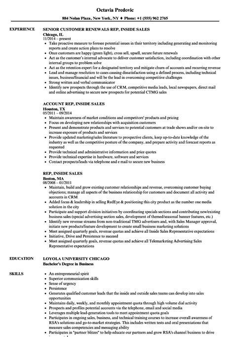 Inside Sales Resume by Rep Inside Sales Resume Sles Velvet
