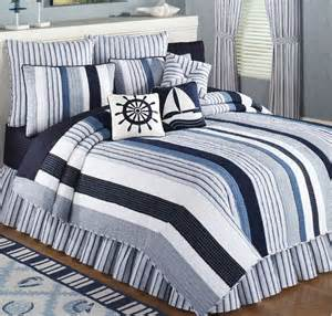 Nautical Bedspread Nantucket Blue Amp White Stripe Quilt