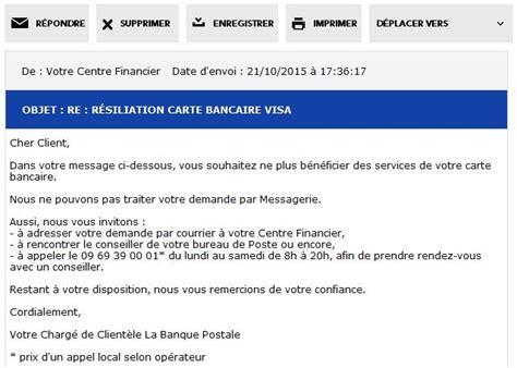 Lettre De Résiliation Carte Bleue Visa La Banque Postale F 226 Ch 233 Avec L Informatique Par J 233 R 233 My