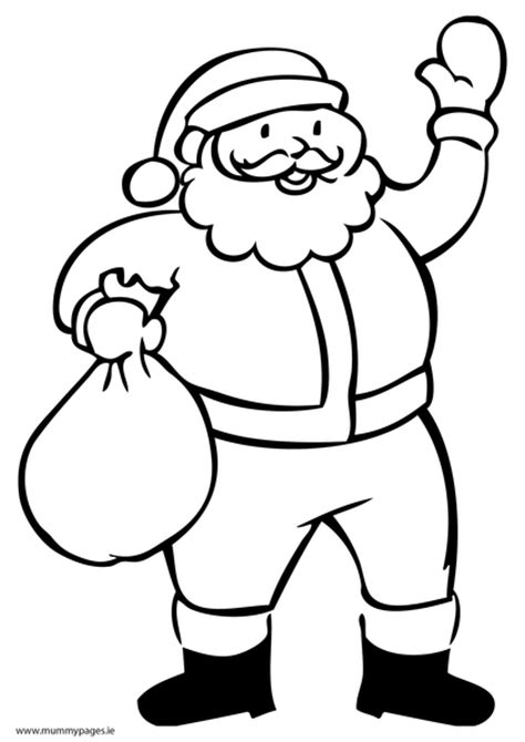 santa with sack colouring page mummypages mummypages ie