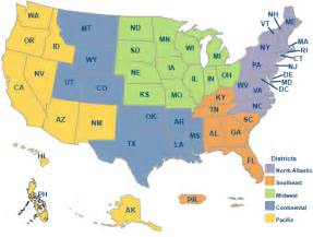 Map of the united states and regions of the veterans benefits