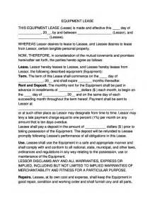 Equipment Lease Agreement Template Free Download Equipment Lease Agreement Legalforms Org