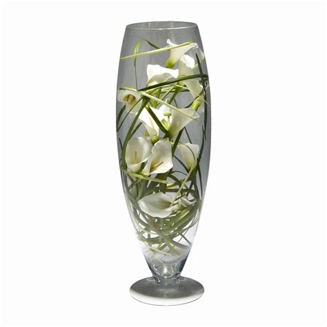 white calla artificial flower arrangement glass