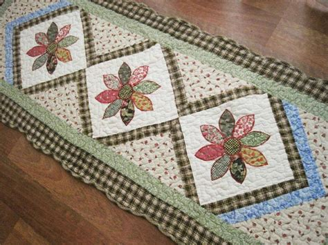 quilted rugs pretty flower applique embroidery cotton quilted mat rug floor runner l ebay