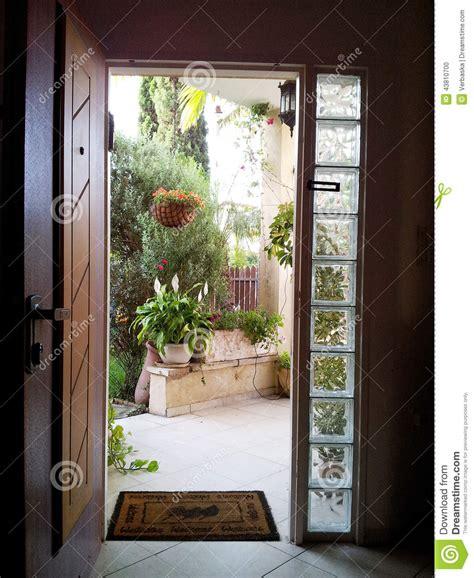 the view through the open door into the patio stock photo image of door nobody 43810700