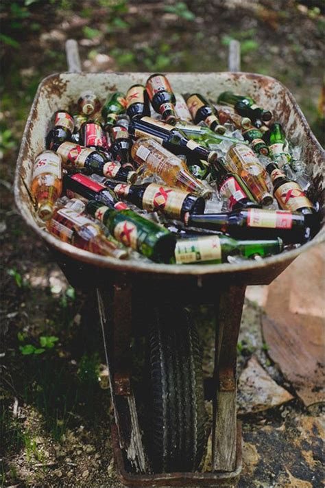 Backyard Wedding Drink Ideas Wheelbarrow And Drinks On