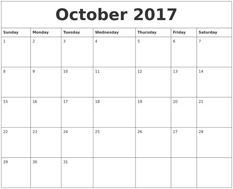 online printable calendar by month october 2017 free printable monthly calendar