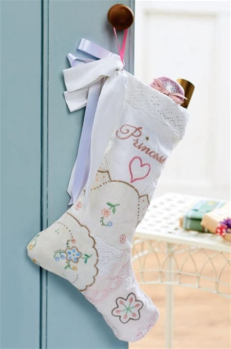 babys  christmas embroidered stocking  sewing