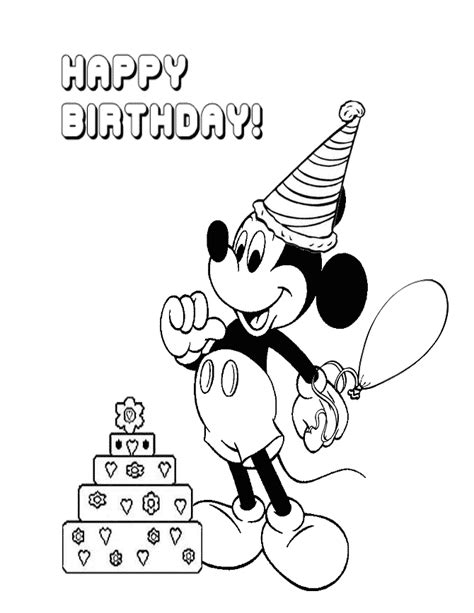 mickey mouse birthday coloring pages free coloring pages of mickey birthday