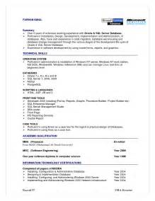 Sle Resume For Experienced Dba Oracle Dba Resume Format Exle Resume Format