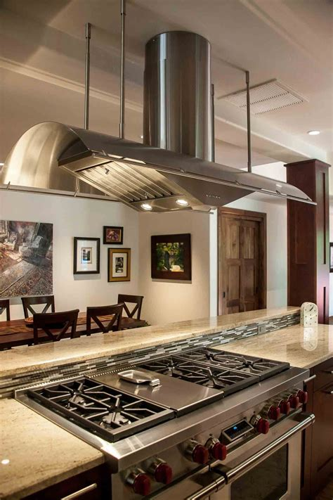 gorgeous stainless steel stove hood  center island