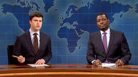 michael che from saturday night live watch weekend update colin jost and michael che on the