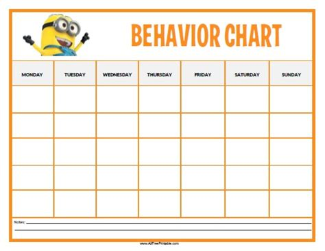 free printable minions behavior chart toddlers and
