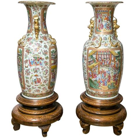 large vases pair of large 19th century cantonese floor vases on carved wood stands for sale at 1stdibs