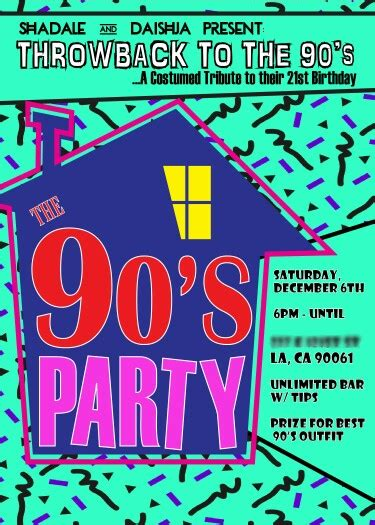 themes of house party 90 s theme house party digital birthday invitation