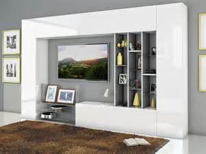 ensemble de meuble tv laqu blanc brillant et effet blanc