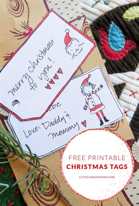 free printable christmas gift tags little girl designs
