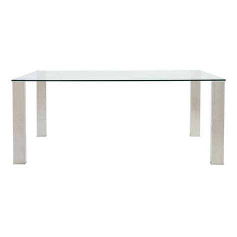 Stainless Steel Clear Glass 71 Quot Modern Office Desk Stainless Steel Office Desk