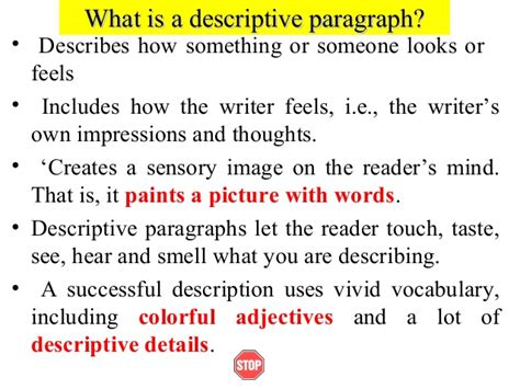 What Is An Descriptive Essay by Writing I Week 6 2 Descriptive Paragraphs2