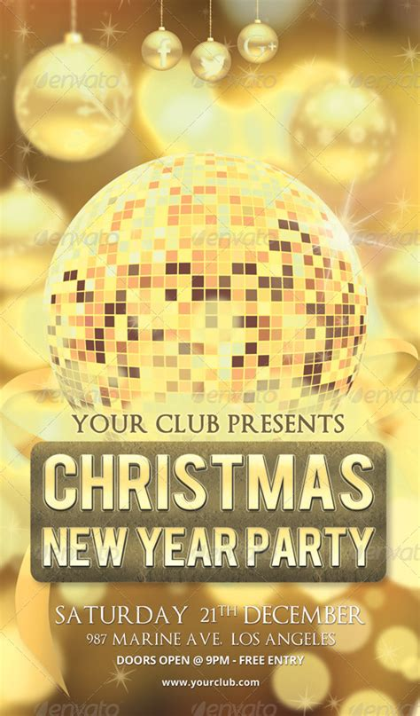 party title for christmas new year new year poster flyer rsplaneta graphic design