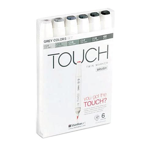 shinhan 6 set grey colors touch brush markers 1200604