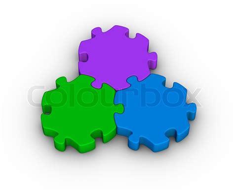 Pieces Of Three three jigsaw pieces unity symbol stock photo colourbox