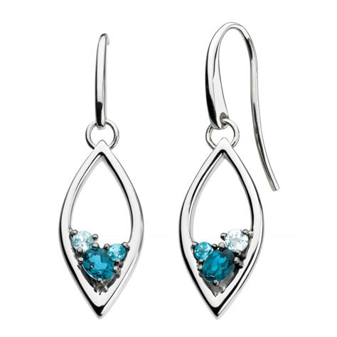 serena blue topaz and sky blue topaz drop earrings