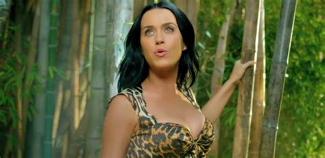 hot hit in the eye katy perry does her best george of the jungle with roar