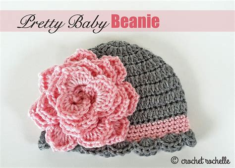 free crochet pattern newborn flower hat free pattern pretty crochet baby beanie with flower