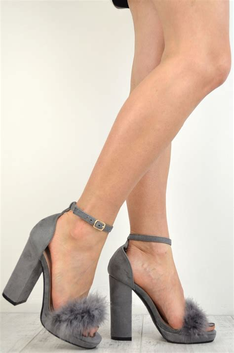 block heel high heels grey suede marabou feathers platform block high heel