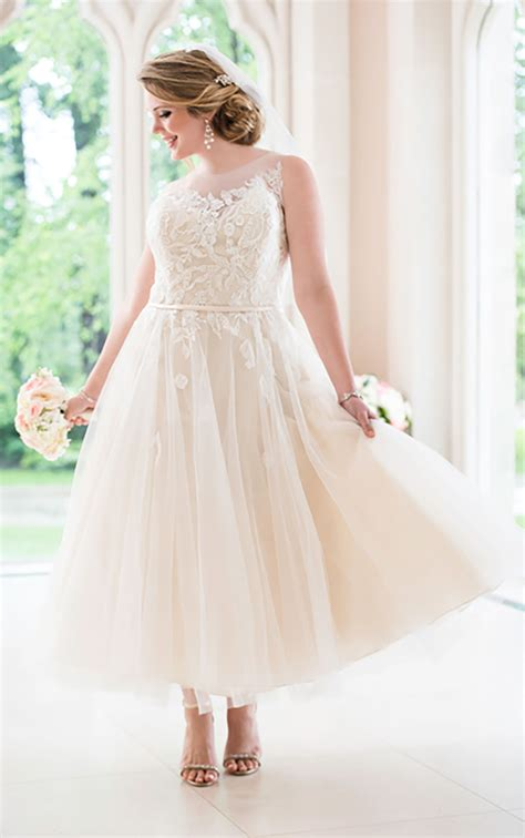 size tea length tulle wedding dress stella york