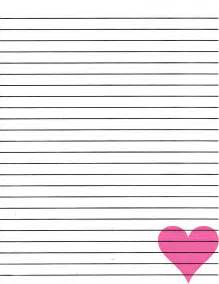 Heart Writing Paper Lined Paper For Writing Activity Shelter