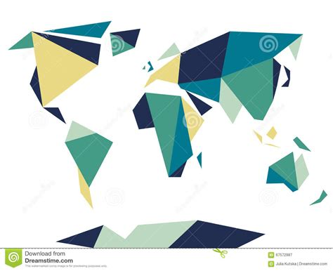 Origami World - low polygonal origami style world map abstract vector