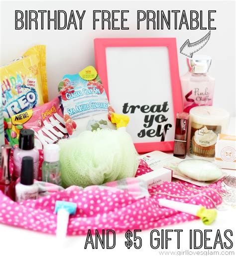 free gift ideas treat yo self birthday free printable 5 gift ideas