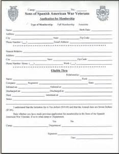 Obtain a membership application for the sons of spanish american war