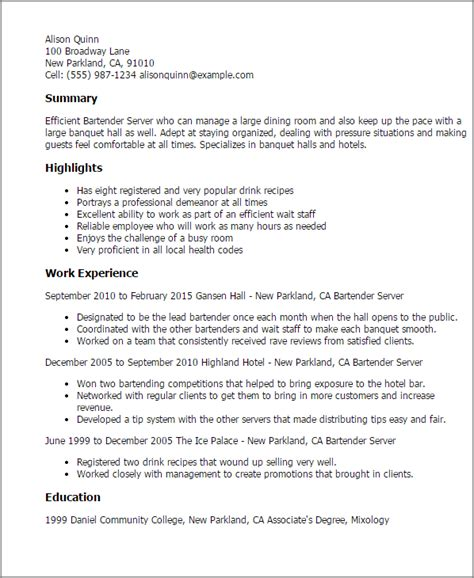 Exle Of Bartender Resume by Professional Bartender Server Templates To Showcase Your Talent Myperfectresume