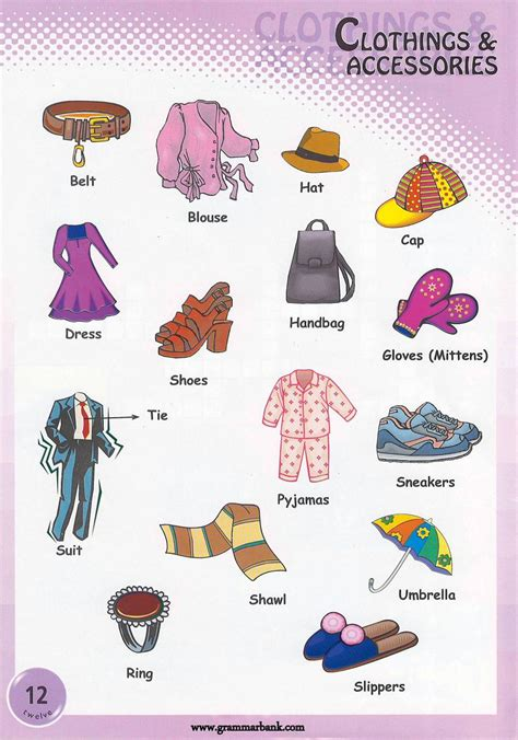 clothing vocabulary clothing and accessories pictionary grammarbank