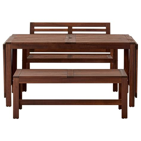 benches ikea 196 pplar 214 table 2 benches outdoor brown stained ikea