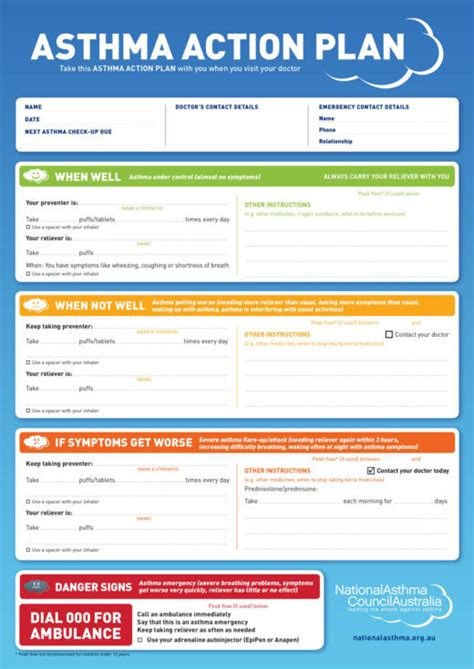 asthma plan form for school templates resume