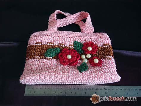 Tas Tangan Wanita Rajut Decoupage jual flowery handbag rajut pink tas rajut motif