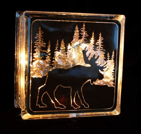 Moose Glass Block Night Light Glass Blocks Pinterest Glass Block Light