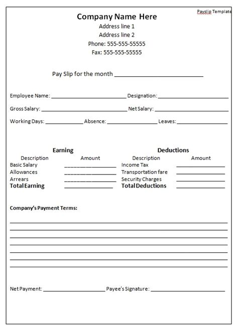 downloadable monthly payroll and payslip template sle