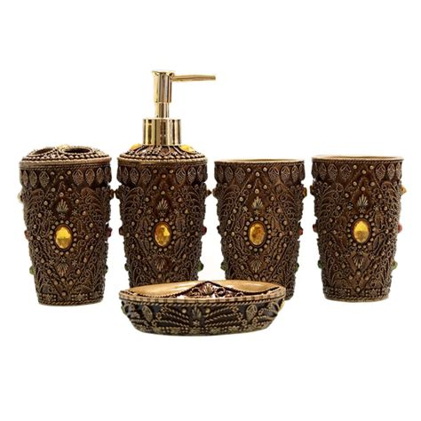5pcs Ultimate Morocco Bathroom Accessories Set Bath Resin Toothbrush Holder Bathroom Accessories