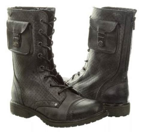boots with pockets leather look pocket topped combat boots in black and