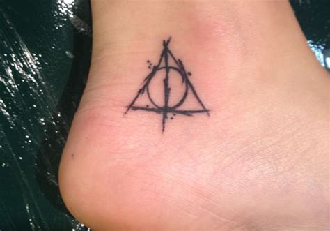 funky small tattoos black harry potter deathly hallows symbol on ankle