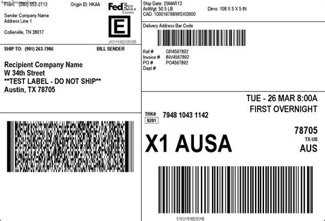 fedex shipping label sle templates