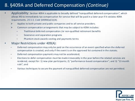 section 409a deferred compensation tax issues for startup company
