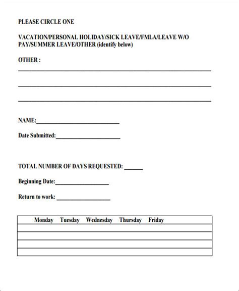 10 sle vacation request form free sle exle