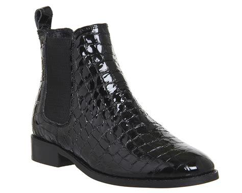 womens office bramble chelsea boots black patent croc