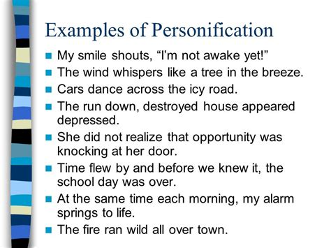 personification what word do you notice inside
